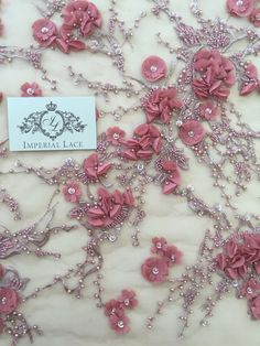 Luxury 3D raspberry red lace fabric hand made by ImperialLingerie