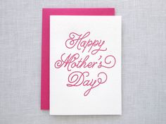 Letterpress Cursive Happy Mother's Day Card by missive on Etsy