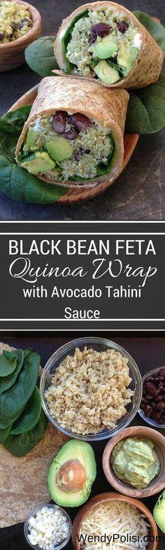 Black Bean Feta Quinoa Wrap with Avocado Tahini Sauce #healthy #lunch