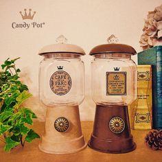 handmade candy pot/109均セリアのカラー植木鉢、取手、瓶、接着剤で作れる。