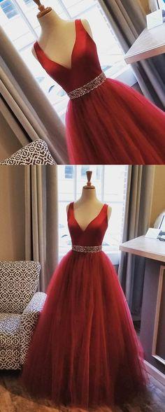 Burgundy tulle V neck beaded belt long evening dress, burgundy long prom dress #prom #dress #promdress #promdresses