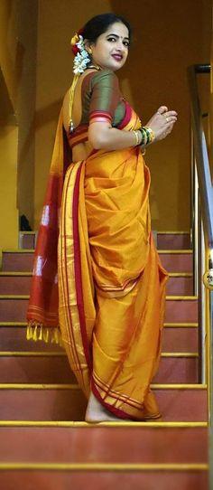 Marathi Saree, Marathi Bride, Kashta Saree, Saree Dress, Silk Sarees, Beautiful Saree, Beautiful Indian Actress, Kajal Agarwal Saree, Indian Look