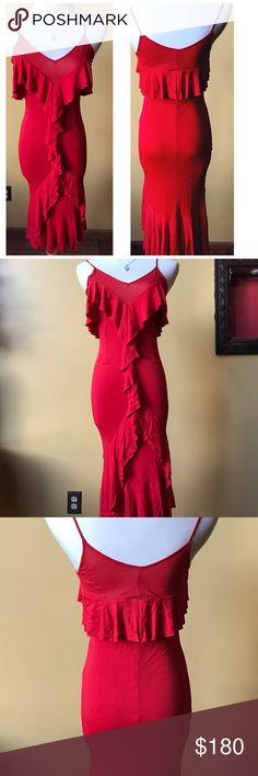 YSL dress Red spaghetti strap. Ruffle front. Body con size 4/6. YSL Dresses
