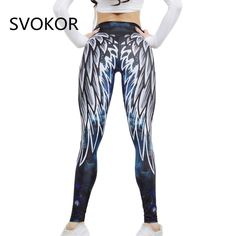 48909749e53afb SVOKOR Harajuku 3D wing leggings for women 2018 push up sporting fitness  legging athleisure bodybuilding sexy women s pants