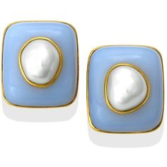 18k Gold Blue Chalcedony Cushion Earrings With Baroque Pearls (221.250 RUB) ❤ liked on Polyvore featuring jewelry, earrings, 18 karat gold jewelry, 18k yellow gold earrings, blue jewelry, gold jewelry and blue earrings