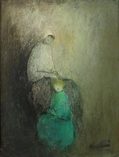 ELVI MAARNI (Finnish, 1907-2006). MOTHER AND CHILD, signed lower right. Oil on board.