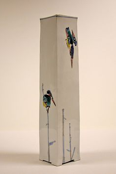 Takegoshi Jun (Japanese: 1948) - Tall Vase with Kingfishers, 2001