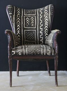 bold upholstery fabric = chair upholstered in mudcloth from Mali - wild chairy via atticmag