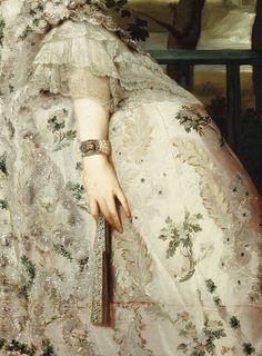 """Detalles del """"Retrato de María Luisa de Parma"""" (1765). Anton Raphael Mengs (1728-1779). Museo del Prado."""