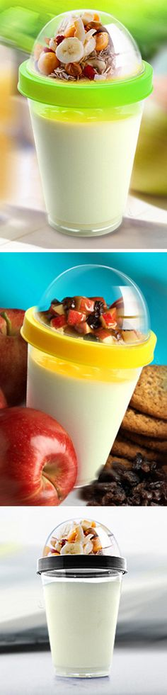 Yo2go | Yogurt to Go travel mug // keeps fruit, granola, and toppings dry, until you are ready to mix and eat! Brilliant healthy snack! #product_design