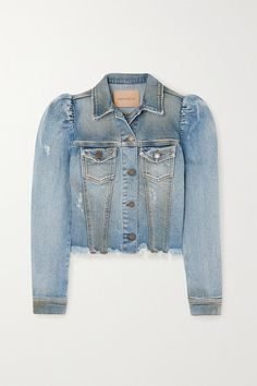 Retrofête's 'Rissa' denim jacket takes cues from the label's popular 'Ada' style. It's been made in Italy from slightly stretchy denim with a cool distressed effect. The puffed shoulders contrast the cropped raw hem. Wear it with: Reformation Skirt, Rick Owens Top, BY FAR Tote, BY FAR Mules. -- Light-blue denim - Button fastenings through front - 99% cotton, 1% elastane - Machine wash - Made in Italy
