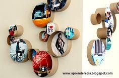 Use rolo de papel higiênico, figuras e fotografias