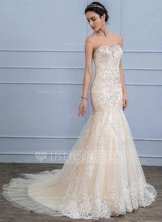 fa5b37937  US  292.99  Trumpet Mermaid Sweetheart Court Train Tulle Lace Wedding  Dress With. Vestidos De Novia EconómicosRamos De NoviaNoviosBoda ...