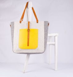 Yellow Lexi Tote crafted from the luxurious Harris Tweed. Handmade is Scotland.