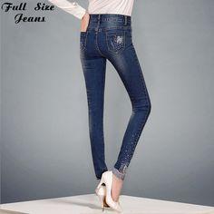 2017 Plus Size Rhinestone Skinny Jeans Female Flare Floral 52 54 56 4XL 6XL XS Sexy Ladies Oversized Denim Cropped Jeans Push Up