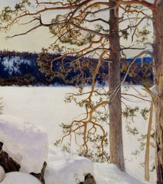 Late Winter Sun (Detail) - Eero Erik Nikolai Järnefelt , 1893 Oil on canvas , 650 x 1110 mm Russian Painting, Light Well, Winter Sun, Landscape Paintings, Tree Paintings, Light And Shadow, Four Seasons, Painting Techniques, Les Oeuvres