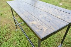 Modern Industrial Table /Computer Desk made from Distressed Wood & Steel Pipe Legs, Iron Pipe Entry Foyer Stand, by FlairOfTheSouth on Etsy