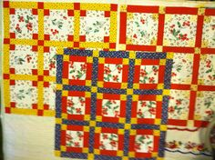 Old cherry tablecloth remade into three....