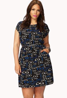 Eye-Catching Eyeglass Dress w/ Belt from Forever 21+.  Plus size.