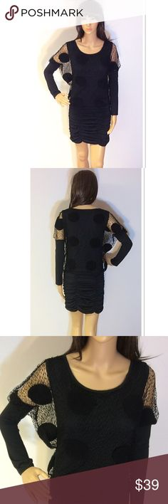 UNIQUE BODYCON DRESS This dress has a style all its own with the see through netting with circles throughout that resemble a Terri cloth type material. The top has a loose fit while the spandex bottom is fitted and ruched. NWOT Dresses Mini