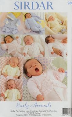 Early Arrivals 1 Baby Preemie Clothing Knitting Patterns Book Sirdar 280 New Baby Knitting Books, Baby Knitting Patterns Free Newborn, Baby Cardigan Knitting Pattern Free, Baby Girl Patterns, Knitting Paterns, Knitting For Kids, Knitting Yarn, Jumper Patterns, Knit Patterns