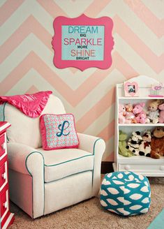 Love chevron!  I love the colors of this room & considering whether the chevron would work on the wall, or if I should add smaller doses in fabrics...I already have the chocolate/light pink/deep pink tree applique on the wall & plan to keep it. Or blue for a boy