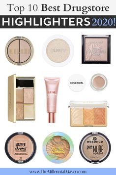 These are my top picks for the best highlighters at the drugstore in High-quality makeup at the drugstore, right here! Drugstore Makeup Brands, Drugstore Highlighter, Highlighters, Drugstore Foundation, Make Up Dupes Drugstore, Best Drugstore Setting Powder, Best Drugstore Powder, Top Makeup Brands, Drugstore Contouring