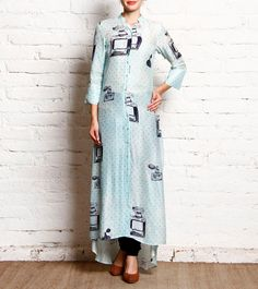 Aqua Blue Printed Cotton Silk Shirt Style Long Kurta