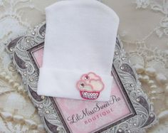 Newborn Hospital Hat, Cupcake Appliqué, infant beenie, baby girl hat, new baby beenie by Lil Miss Sweet Pea