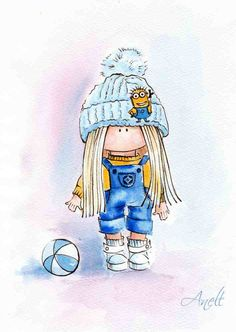 Little blonde haired girl in Minion suit by AnellHappyWatercolor