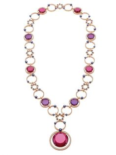 BVLGARI. FESTA Collection. Necklace - pink gold, 5 pink rubellite tourmalines, 4 purple double rose amethysts, 83 bead sapphires (31,84 carats) and pavé-set diamonds  #Bvlgari #FestaCollection