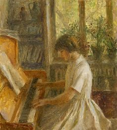 The Artist's Granddaughter Playing the Piano - Tatiana Yablonskaya