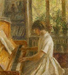 The Artist's Granddaughter Playing the Piano - Tatiana Yablonskaya