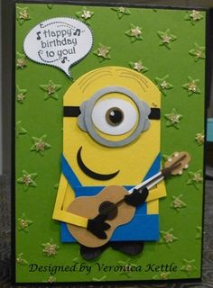 Minion by VeronicaK - Cards and Paper Crafts at Splitcoaststampers.  (Pin#1: Children: Boys.  Pin+: Punch Art: Children).
