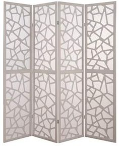 Modern accent divider has a lovely pattern. ACME Furniture ACME Aerona 4 Panels Fabric Room Divider in White, Novelty
