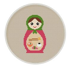 Russian Doll and sushi cross stitch pattern by MagicCrossStitch