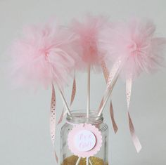 Pink Pom wands, pink and gold baby shower decorations, princess party decoration, pink centerpiece, tulle pom poms, princess party favors