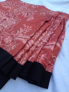 Pink and Black Linen Toile Bed Skirt Vintage Designer Fabric