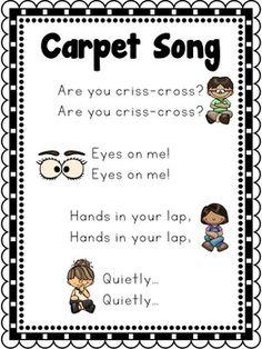 Carpet Song Poster by Carolyn& Creative Classroom Miss Hacker Preschool Poems, Kindergarten Songs, Preschool Music, Preschool Lessons, Preschool Learning, Kindergarten Classroom, Classroom Activities, Preschool Goodbye Song, Preschool Worksheets