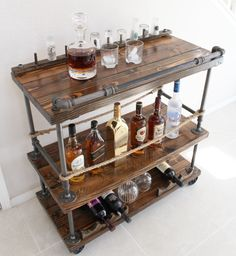 Rustic Pipe Bar Cart - Industrial Pipe & Wood bar / Unique bars / whiskey bar / wine cart / kitchen island / rollaway bar / rustic furniture - This beautiful, handmade, solid wood and steel bar cart is the furniture piece that will set your h - Pipe Furniture, Industrial Furniture, Rustic Furniture, Furniture Design, Furniture Ideas, Furniture Online, Furniture Buyers, Handmade Furniture, Furniture Stores