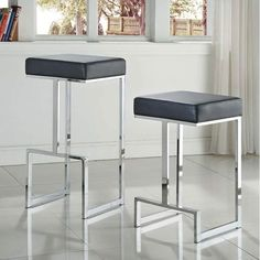 Contemporary Sleek Design Black Leatherette and Chrome-finished Metal Stool With Footrest (