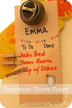 cute morning chore charts | designed these doorknob hanger chore charts using a template from ...