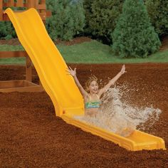 Water Slide Kit allows you to create water park fun right in the comfort of your own backyard. Holds up to 4 in. of water and self drains when not is use. Can be used wet or dry. Includes water cannon with on/off hose connection.