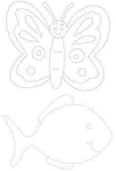 Kelebek ve Balık - Çizgi Çalışması - Okul öncesi çocuklar için güzel bir çizgi çalışması.