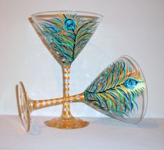 Hand Painted Martini Glasses Peacock Feathers Peacock Wedding Anniversary Birthday Gift Set of Two 12 oz. Martini Glassware by SharonsCustomArtwork on Etsy Wedding Anniversary, Anniversary Gifts, Types Of Glassware, Wedding Champagne Flutes, Mad Men Fashion, Hand Painted Wine Glasses, Stemless Wine Glasses, Peacock Wedding, Peacock Feathers