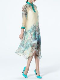 Floral-print Silk Midi Dress without Camis