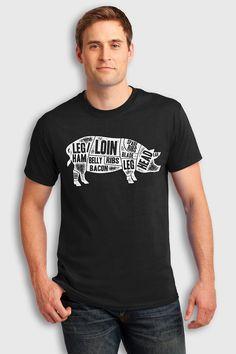 Pig butcher diagram cuts t-shirt - chef t-shirt #pork #butcher #chef