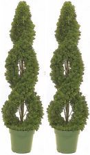 2 CEDAR IN OUTDOOR TOPIARY ARTIFICIAL PLANT TREE 4' CYPRESS DOUBLE SPIRAL PINE