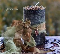 """Witchcrafts Artisan Alchemy - MIRKWOOD Old European """"Nordic Lights"""" Pillar Candle (http://www.witchcraftsartisanalchemy.com/mirkwood-old-european-nordic-lights-pillar-candle/)"""
