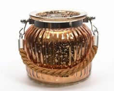 Copper Glass Lantern W/Rope @ gainsboroughgiftware.com